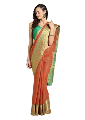 Orange Woven chanderi saree with blouse
