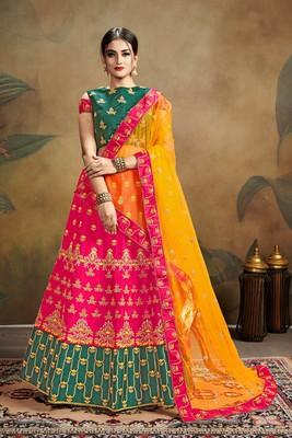 Pink embroidered silk blend semi stitched lehenga choli