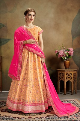 Orange Embroidered Silk Blend Semi Stitched Lehenga Choli