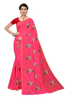 Pink EMBROIDERED CHANDERI SAREE WITH BANGLORI BLOUSE