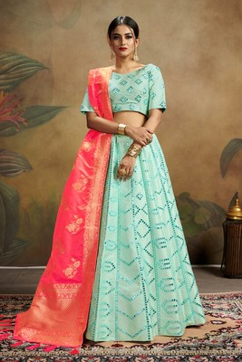 turquoise embroidered silk blend semi stitched lehenga choli