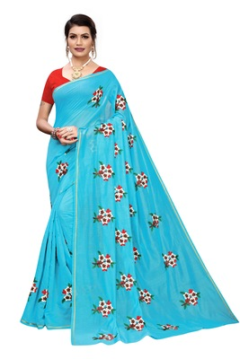 Sky Blue EMBROIDERED CHANDERI SAREE WITH BANGLORI BLOUSE