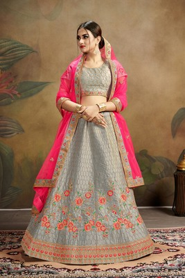 grey embroidered silk blend semi stitched lehenga choli