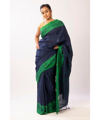 blue Blue  Bengal Cotton Jamdaani saree with blouse