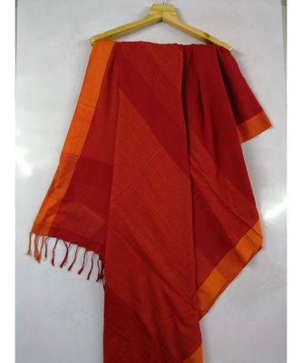 Red Bengal cotton Handloom saree with blouse