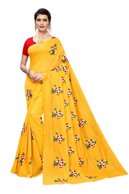 Yellow EMBROIDERED CHANDERI SAREE WITH BANGLORI BLOUSE