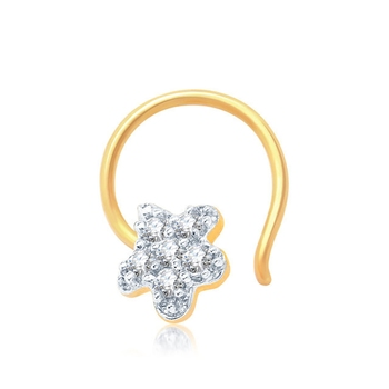 White cubic zirconia nose-ring