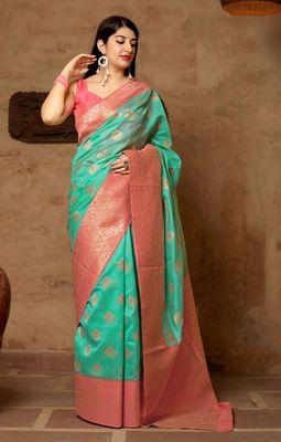 Sea-green woven banarasi silk saree with blouse
