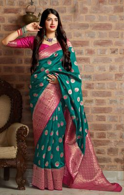 Sea-green woven banarasi silk saree with blouse
