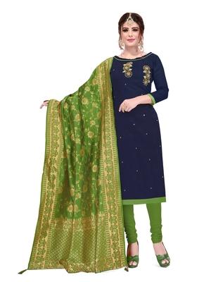 Navy-blue beads cotton salwar