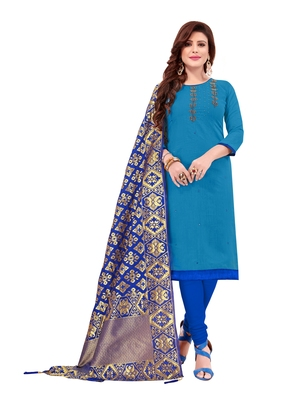 Sky Blue Slub Cotton Hand Work Dress Material With Banarasi Dupatta