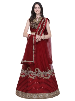 Maroon embroidered net semi stitched lehenga