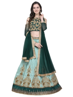 Green embroidered art silk semi stitched lehenga