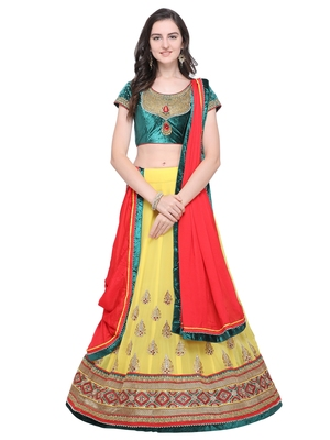 Yellow embroidered georgette semi stitched lehenga