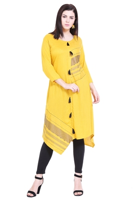 Mustard embroidered cotton kurtas-and-kurtis