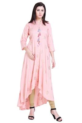 Baby-pink printed cotton kurtas-and-kurtis