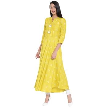 Light-yellow printed cotton kurtas-and-kurtis