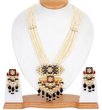 Black kundan gold Plated semi precious necklace-sets