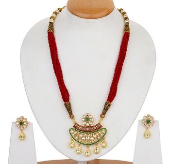 Maroon kundan necklace-sets