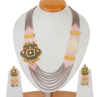 Pink Statement multilayered saroswki onex necklace-sets
