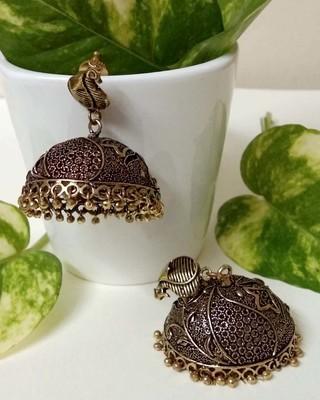Bronze agate jhumkas