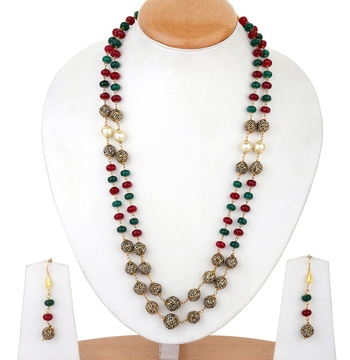 Maroon green tanjore 2-layered onex necklace-sets