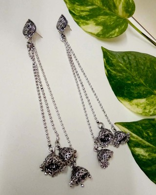 Silver agate jhumkas