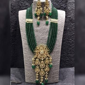 Wedding Kundan Semi precious Green onex necklace-sets
