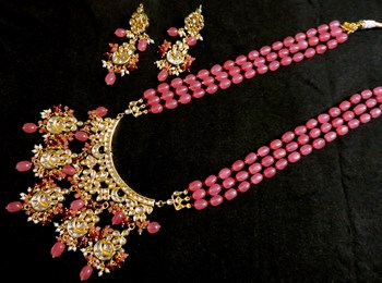 Wedding Kundan Premium Semi Precious Pink Onex Necklace Sets