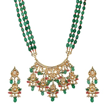 Wedding Premium Kundan Semi Precious Beads Green Onyx Necklace Sets