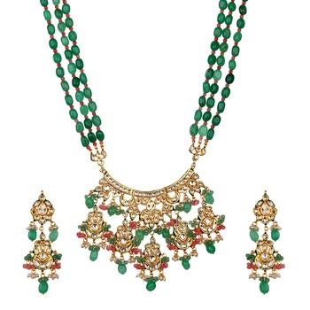 Wedding Premium Kundan Semi precious beads Green onyx necklace-sets