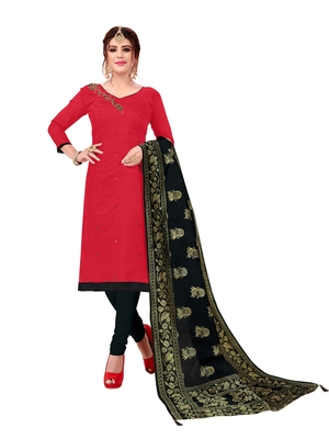Pink Slub Cotton Hand Work Dress Material With Banarasi Dupatta