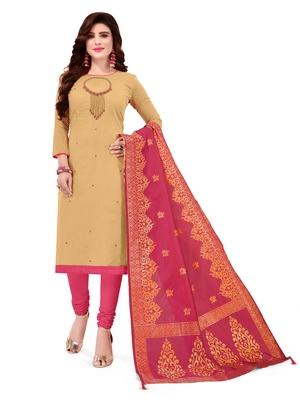 Beige Slub Cotton Hand Work Dress Material With Banarasi Dupatta