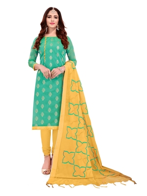 Turquoise & Yellow Banarasi Jacquard Dress Material With Thread Work Modal Silk Dupatta