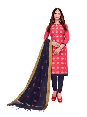 Pink jacquard banarasi cotton salwar