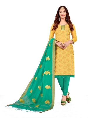 Yellow jacquard banarasi cotton salwar