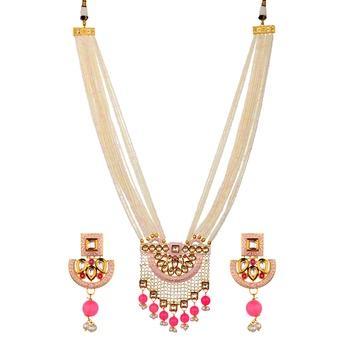 Pink Kundan Semi Precious Beads Necklace Sets