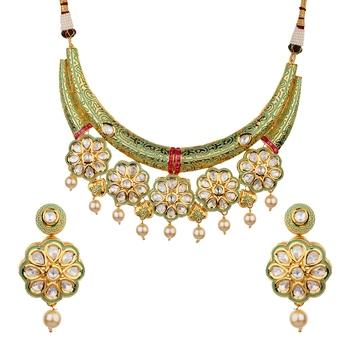 Wedding Premium hasli Green kundan necklace-sets