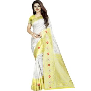 Grey woven banarasi silk saree with blouse