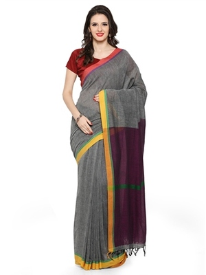 grey woven khadi cotton saree