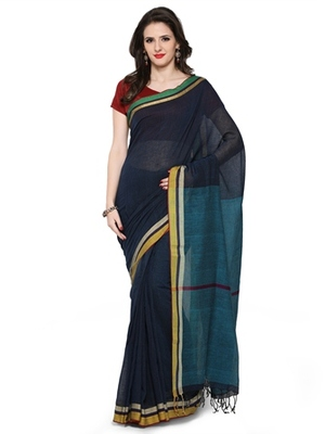 black woven khadi cotton saree