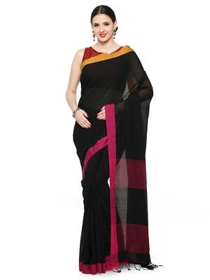 black plain khadi cotton saree