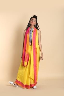 yellow plain cotton saree