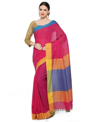 magenta woven khadi cotton saree