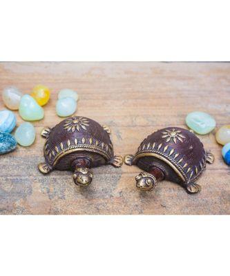 Dhokra Art Tortoise Table Top Set- Brown