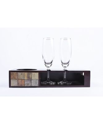 Champagne Tray  With 2 Glasses In Mango Wood