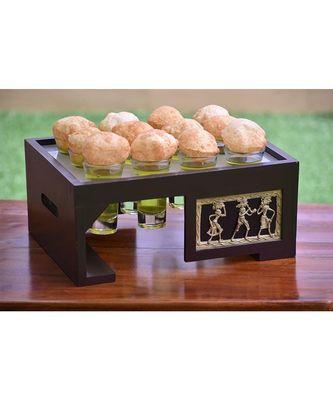 Puchka Panipuri Set With  12 Glasses in Mango Wood