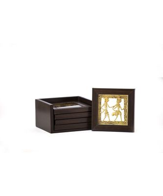 Dhokra Coaster Set With Stand ( Available In Set Of 4 )