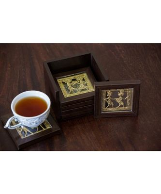 Dhokra Coaster Set With Stand ( Available In Set Of 6 )
