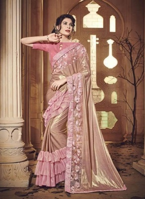 light pink embroidered lycra saree with blouse